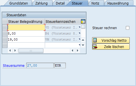Der Steuerbetrag und unterschiedliche Steuersätze aus der Sicht der SAP-Buchungsmaske