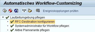 Laufzeitumgebung pflegen - RFC-Destination ist konfiguriert
