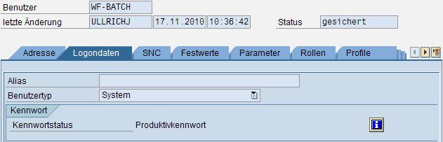 Das Kennwort des Workflow-Benutzers ist nun aktiv.
